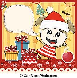 menina, cartão natal