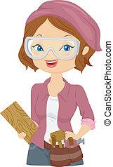 menina, carver madeira