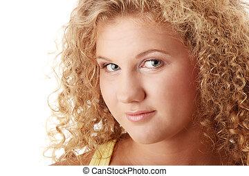 menina, caucasiano, rechonchudo