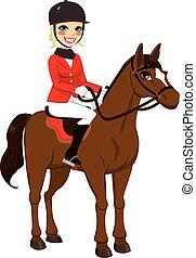 menina, cavalo, eqüestre