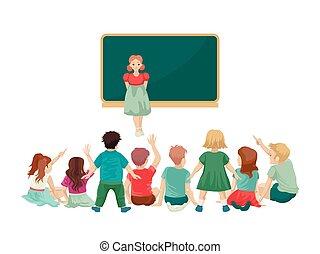 menina, chão, encontra, backs., vestido, sentar, illustration., seu, blackboard., vetorial, crianças