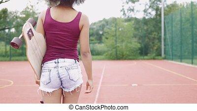 menina, chão, skateboard, esportes