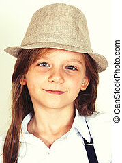 menina, chapéu, bonito