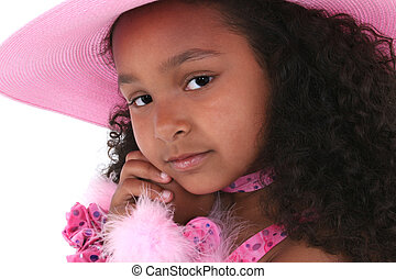 menina, chapéu, criança
