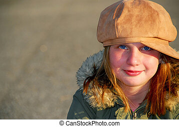 menina, chapéu, inverno