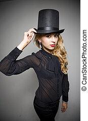 menina, chapéu, topo