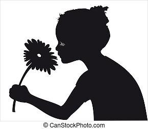 menina, cheirando, flor, vetorial, silueta