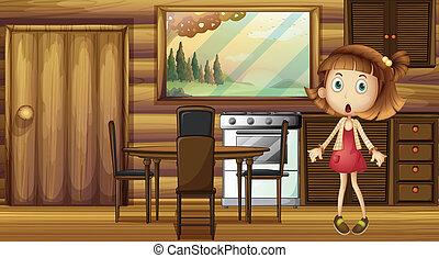 menina, chocado, cozinha
