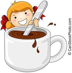 menina, chocolate quente