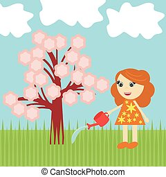 menina, com, árvore