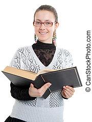 menina, com, óculos, leitura, um, grossas, livro