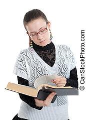 menina, com, óculos, lendo um livro