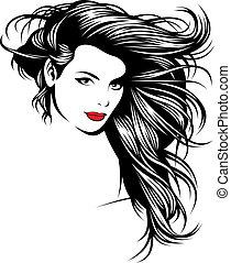 menina, com, agradável, cabelos, de, meu, fantasia