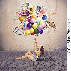 menina, com, balloon