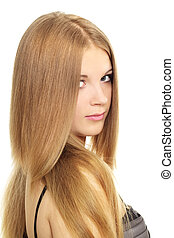 menina, com, beleza, cabelo longo