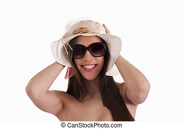menina, com, biquíni, e, óculos de sol, pamela