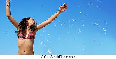 menina, com, bolhas