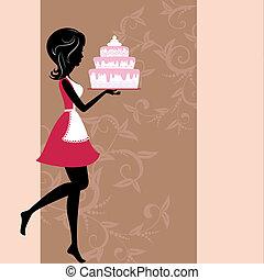 menina, com, bolo