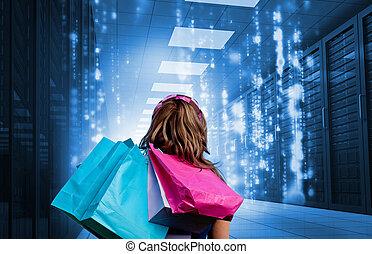 menina, com, bolsas para compras, olhar