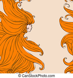 menina, com, bonito, cabelo, seamless