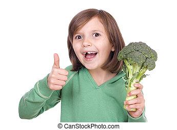 menina, com, brócolos