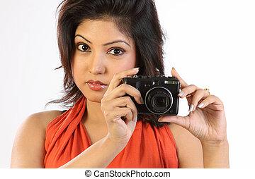 menina, com, câmera digital