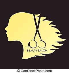 menina, com, cachos, de, cabelo, e, tesouras
