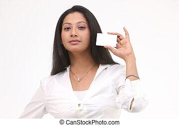 menina, com, cartão crédito