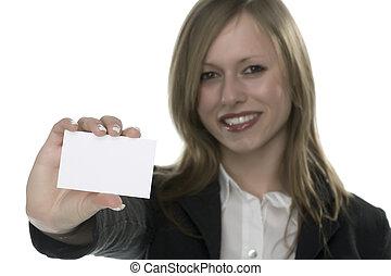 menina, com, cartão, para, texto