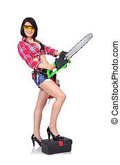 menina, com, chainsaw