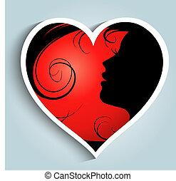 menina, com, coração, adesivo