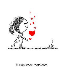 menina, com, coração vermelho, cartão valentine, esboço, para, seu, desenho