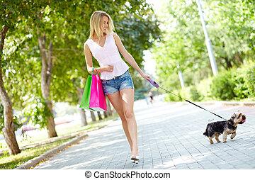menina, com, dela, animal estimação
