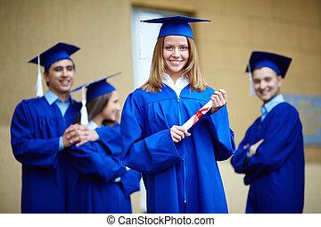 menina, com, diploma