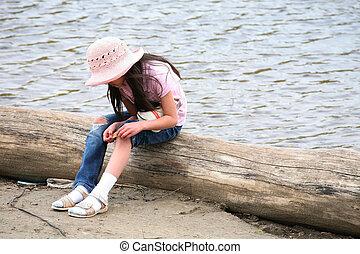 menina, com, ferida, sentando, ligado, registro