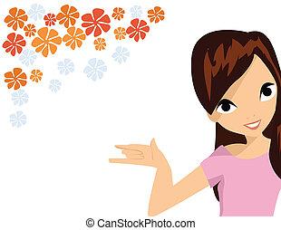 menina, com, flor