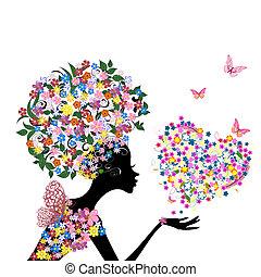 menina, com, flores, ligado, dela, cabeça, com, um, valentine