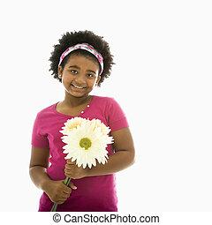 menina, com, flowers.