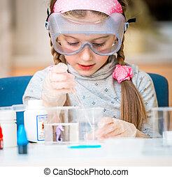 menina, com, frascos, para, química