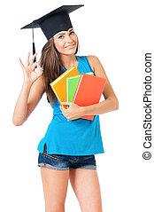 menina, com, graduação, chapéu
