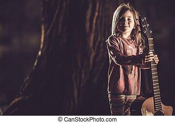 menina, com, guitarra acústica