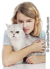 menina, com, incapacitado, gato
