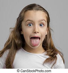 menina, com, língua