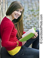 menina, com, livro