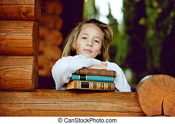 menina, com, livros