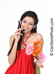 menina, com, micro, telefones