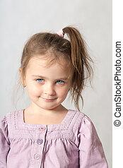 menina, com, olhos azuis