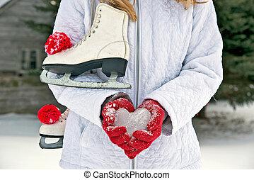 menina, com, patins gelo, e, coração