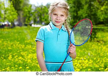 menina, com, racquet