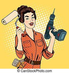 menina, com, rolo, escova, e, drill., mulher, fazendo,...